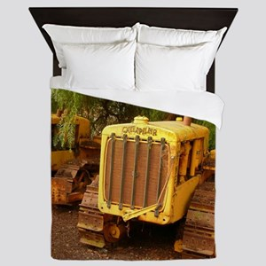 vintage yellow tractor Queen Duvet