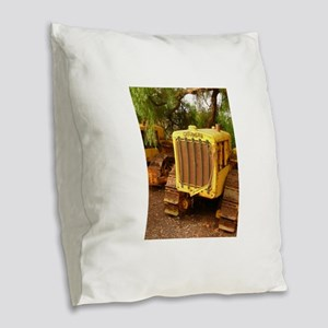 vintage yellow tractor Burlap Throw Pillow