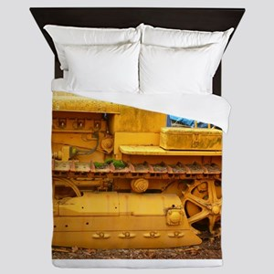 old yellow tracror up cl Queen Duvet