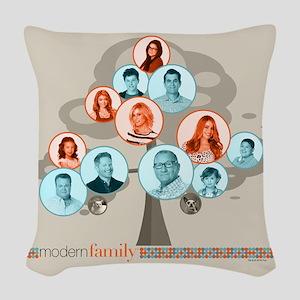 Modern Family Tree Woven Throw Pillow