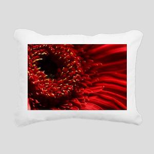 Red Gerbera Daisy Rectangular Canvas Pillow
