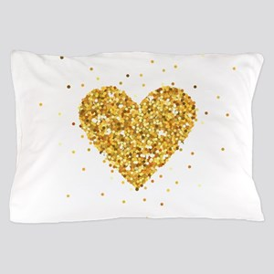 Gold Glitter Heart Illustration Pillow Case