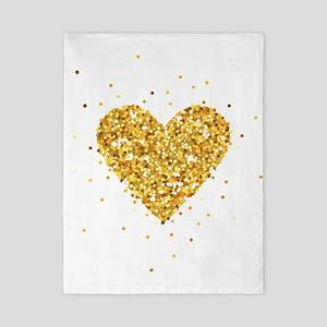Gold Glitter Heart Illustration Twin Duvet