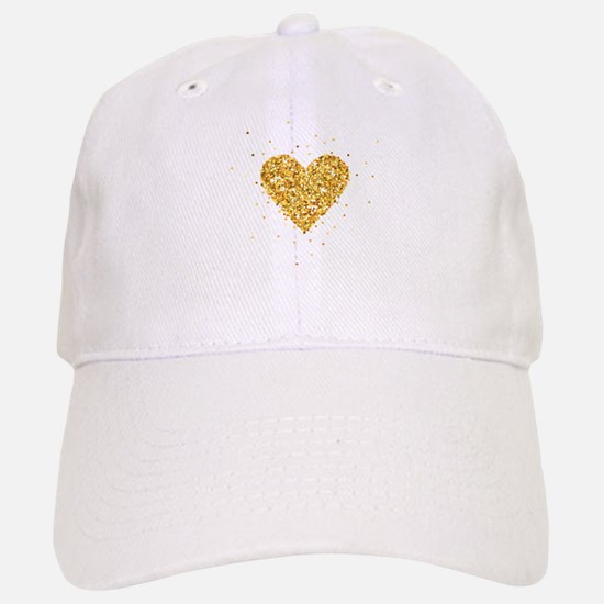 Gold Glitter Heart Illustration Cap