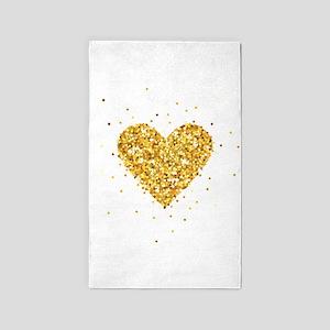 Gold Glitter Heart Illustration Area Rug