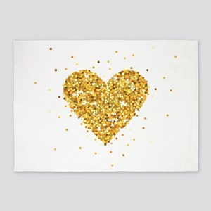 Gold Glitter Heart Illustration 5'x7'Area Rug