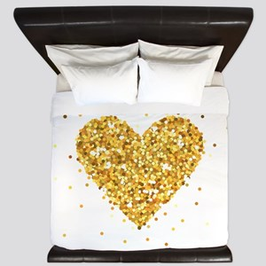 Gold Glitter Heart Illustration King Duvet