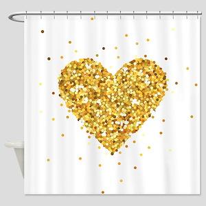 Gold Glitter Heart Illustration Shower Curtain