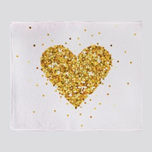 Gold Glitter Heart Illustration Throw Blanket