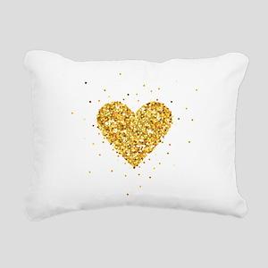 Gold Glitter Heart Illus Rectangular Canvas Pillow