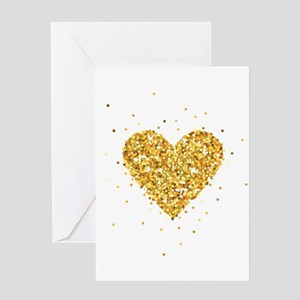 Gold Glitter Heart Illustration Greeting Cards