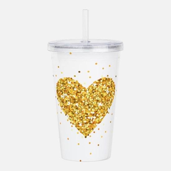 Gold Glitter Heart Ill Acrylic Double-wall Tumbler