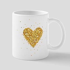 Gold Glitter Heart Illustration Mugs