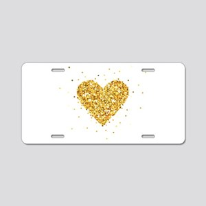 Gold Glitter Heart Illustra Aluminum License Plate