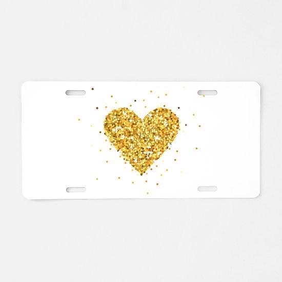 Gold Glitter Heart Illustra Aluminum License Plate