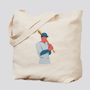 Vintage Baseball Player Bat Watercolor Tote Bag