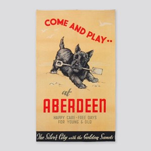 Aberdeen, Scotland Vintage Travel Poster Area Rug