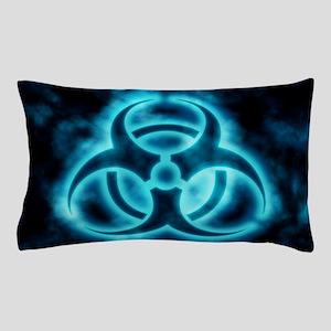 Blue Biohazard Symbol Pillow Case