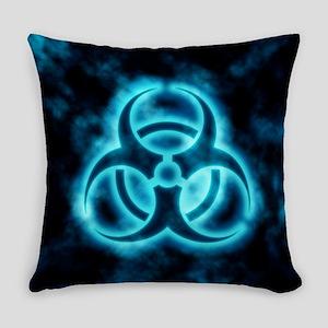Blue Biohazard Symbol Everyday Pillow