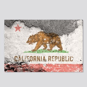 california flag concrete wall Postcards (Package o
