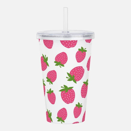 Pink Strawberry Patter Acrylic Double-wall Tumbler