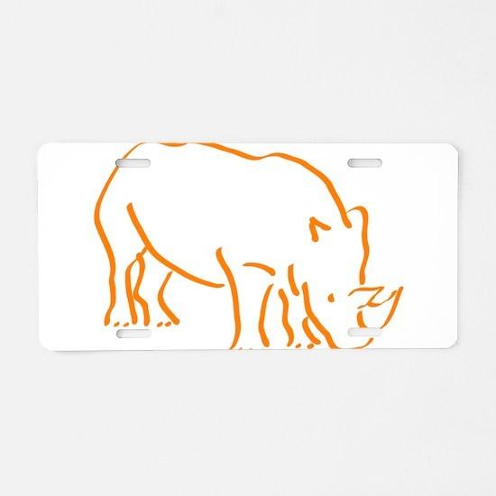 Unique Rhino Aluminum License Plate