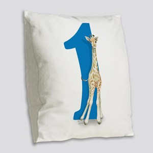 Baby Giraffe Big Blue 1 Burlap Throw Pillow