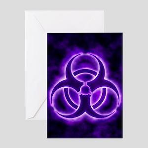 Purple Biohazard Symbol Greeting Cards