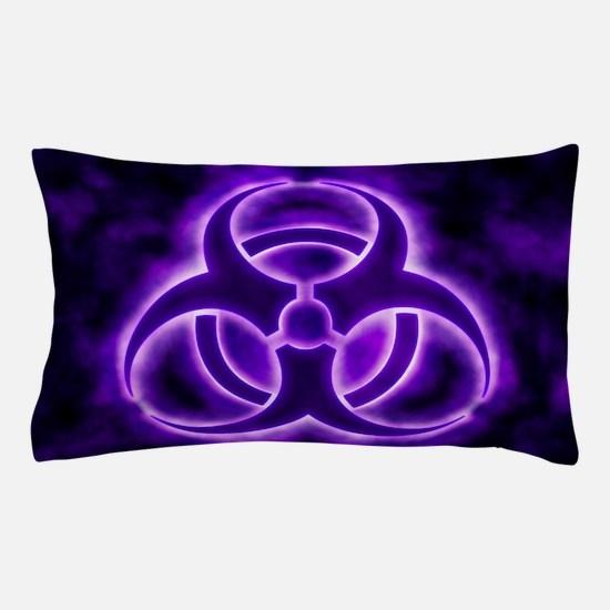 Purple Biohazard Symbol Pillow Case