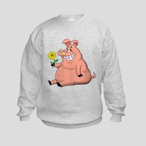 Pig With a Daisy Kids Sweatshirt