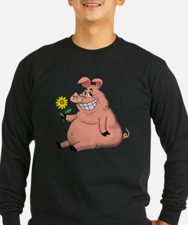 Pig With a Daisy Long Sleeve T-Shirt