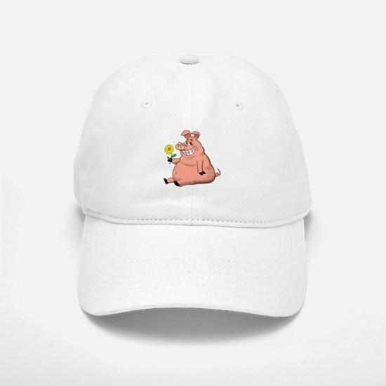 Pig With a Daisy Baseball Baseball Cap