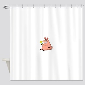 Pig With a Daisy Shower Curtain
