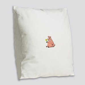 Pig With a Daisy Burlap Throw Pillow
