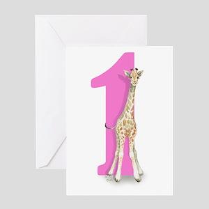 Baby Giraffe Big Pink 1 Greeting Cards