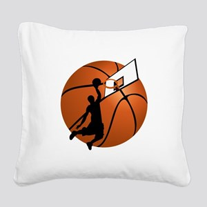 Slam Dunk Basketball Player w Square Canvas Pillow