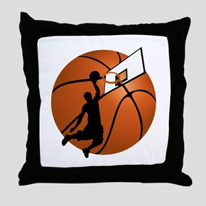 Slam Dunk Basketball Player w/Hoop on Throw Pillow
