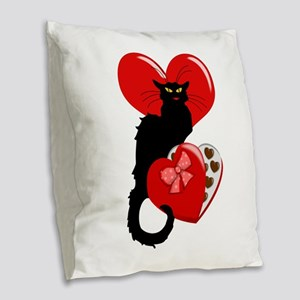 Le Chat Noir with Chocolate Ca Burlap Throw Pillow