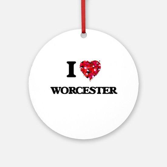 I love Worcester Massachusetts Round Ornament