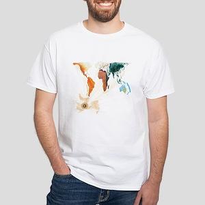 White T-Shirt - World Map Design