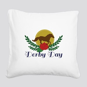 Derby Day Square Canvas Pillow