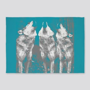3 Wolves Blue Accent 1 5'x7'Area Rug