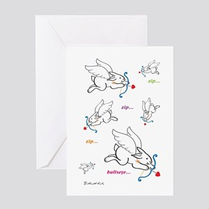Bunny Valentine Cupids Front Greeting Cards