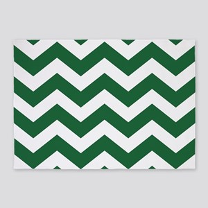 Evergreen and White Chevrons 5'x7'Area Rug