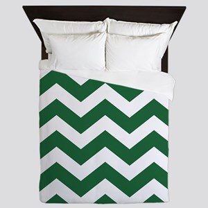 Evergreen and White Chevrons Queen Duvet