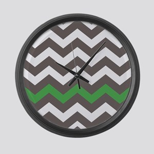 Gray With A Green Border Large Wall Clock