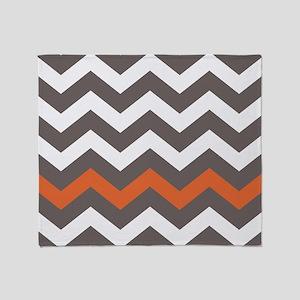 Gray With A Orange Border Throw Blanket