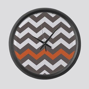 Gray With A Orange Border Large Wall Clock