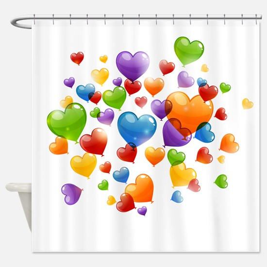 Balloon hearths Shower Curtain