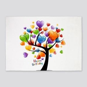 Happy birthday balloons tree 5'x7'Area Rug